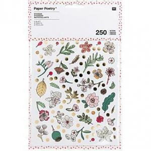 6 hojas 250 Pegatinas flores