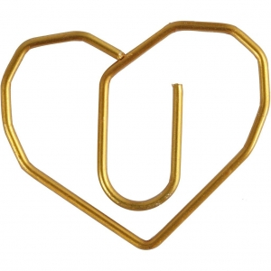6 clips dorados corazón