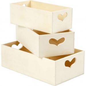 3 cajas madera corazón