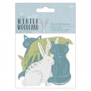 12 Die cuts fieltro Winter woodland - animales