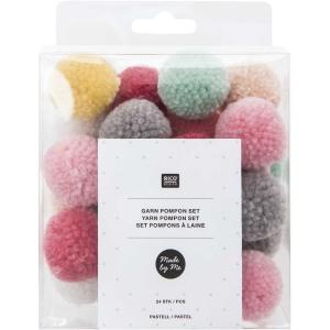 24 pompones lana pastel