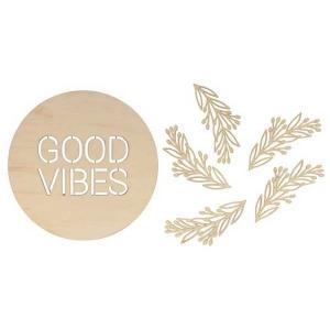 Silueta medallón good vibes + 5 hojas