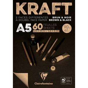 Bloc A5 90 gr Kraft Brun and Noir