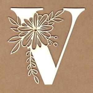 Letra inicial floral V