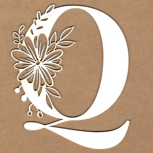 Letra inicial floral Q