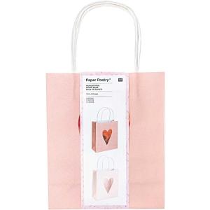 Pack 2 bolsas rosas corazones