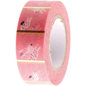 Washi tape Bunny hop rosa