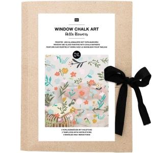 Plantillas papel Window chalk art - Hello flowers