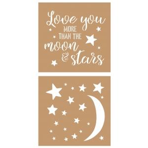 2 Plantillas estarcido cartón Luna y estrellas