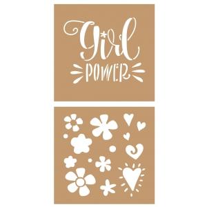 2 Plantillas estarcido cartón Girl Power