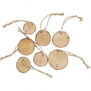 7 Rodajas madera con agujero y cordel 2-5 cm