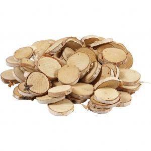 10 Rodajas madera con agujero 3-5 cm