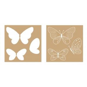 2 Plantillas estarcido cartón Mariposas