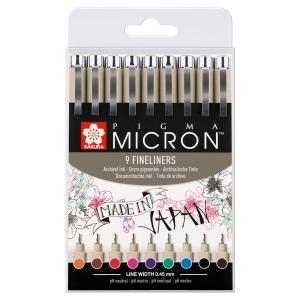 Set 9 Pigma Micron 0.45 mm colores