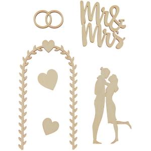 6 siluetas de madera marriage