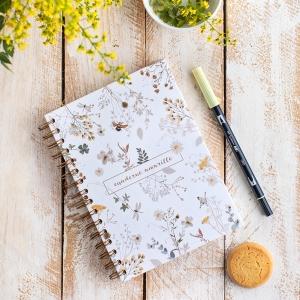 Cuaderno floral amarillo 14x21cm anillas Mia mandarina