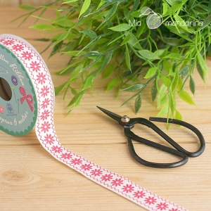 6m Cinta algodón flores vintage crafts