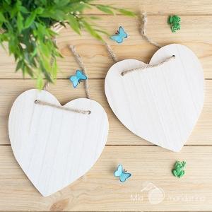 Placa corazón madera