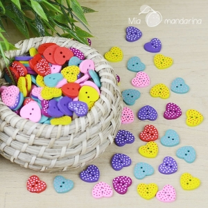 5 botones corazones colores 15mm