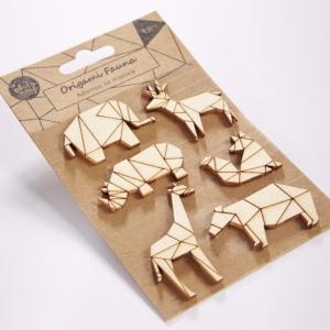 Adornos de madera Origami Fauna