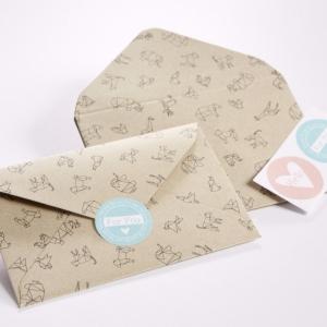 4 sobres y etiquetas origami fauna
