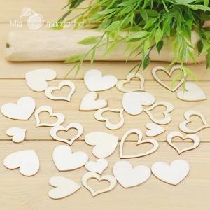 Surtido 10 corazones madera