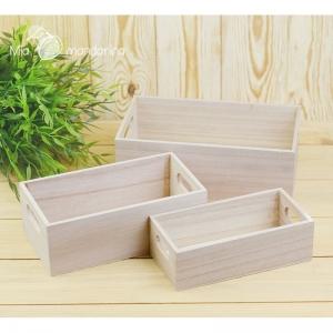 3 cajas madera lisas